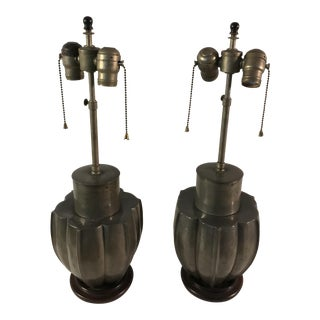 Mid-Century Hollywood Regency Pewter Table Lamps - A Pair For Sale
