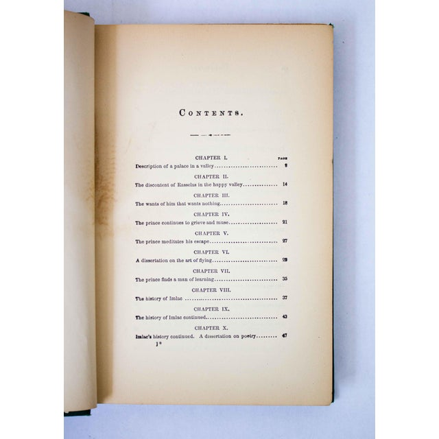 "Green Antique Book, ""Rasselas"" For Sale - Image 8 of 9"