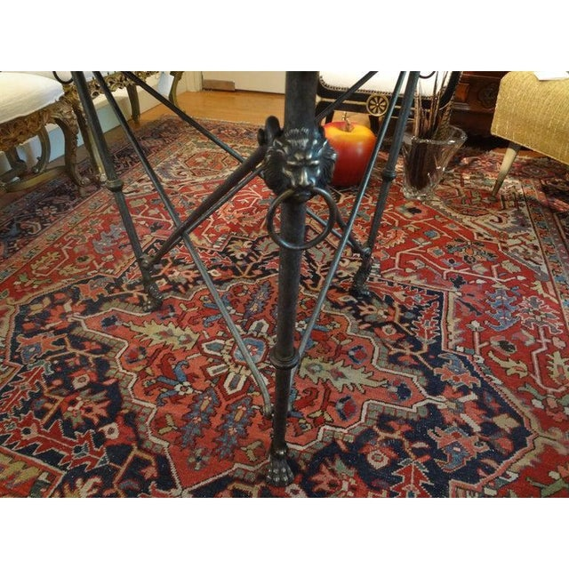 Hollywood Regency Italian Neoclassical Style Steel and Bronze Center Table After Giacometti For Sale - Image 3 of 13