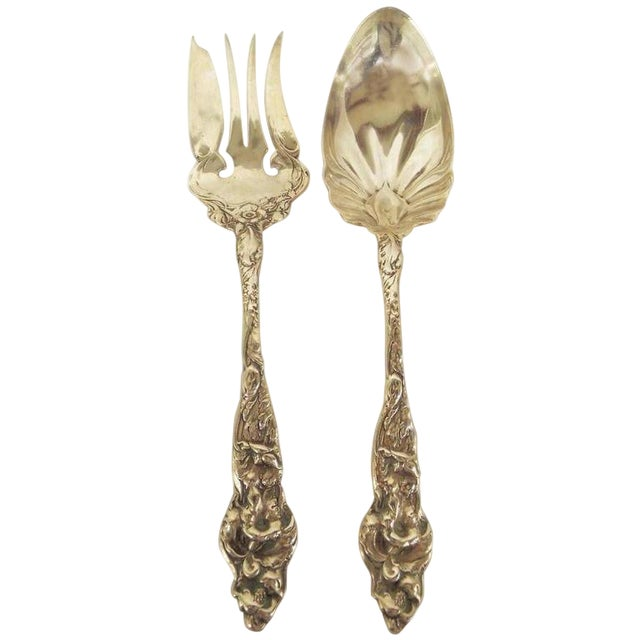 Sterling Silver Serving Spoon and Fork For Sale