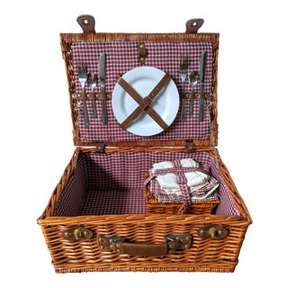 Vintage Wicker & Leather Picnic Set For Sale