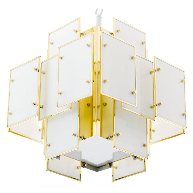 White Geometric Milk Glass Panel Chandelier For Sale - Image 8 of 8
