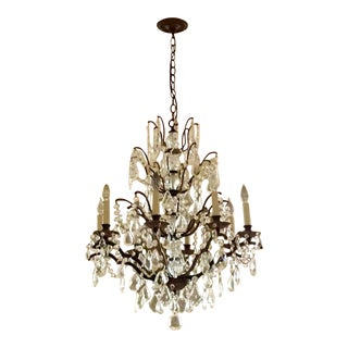 Traditional Style Bronze & Crystal Chandelier For Sale