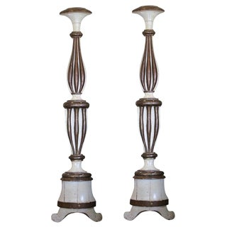 "Pair of Tall Polychrome Columns in ""Pricket Stick"" Form For Sale"