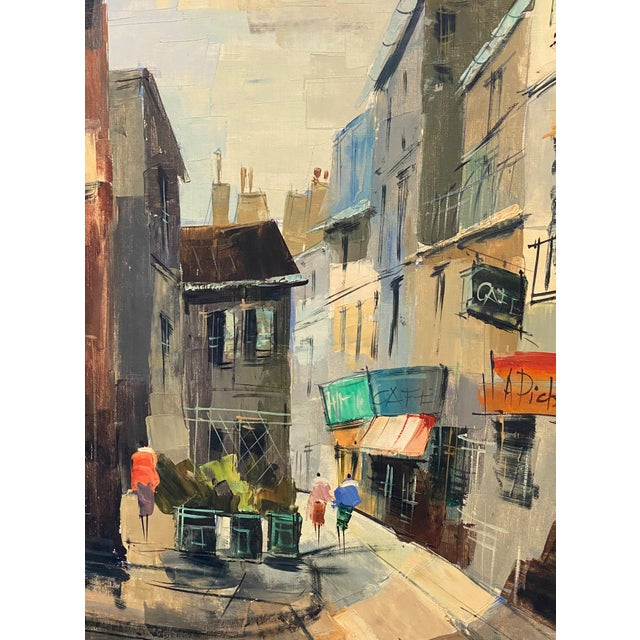 French Impressionist street scene oil on canvas. Signed lower right.