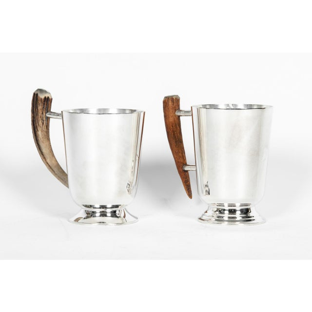 Mid-Century Modern Vintage Silver Plate Mugs With Horn Handle - a Pair For Sale - Image 3 of 10