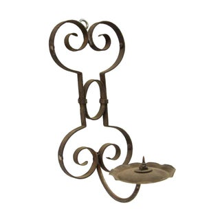 Wrought Iron and Brass Wall Mount Candle Holder For Sale