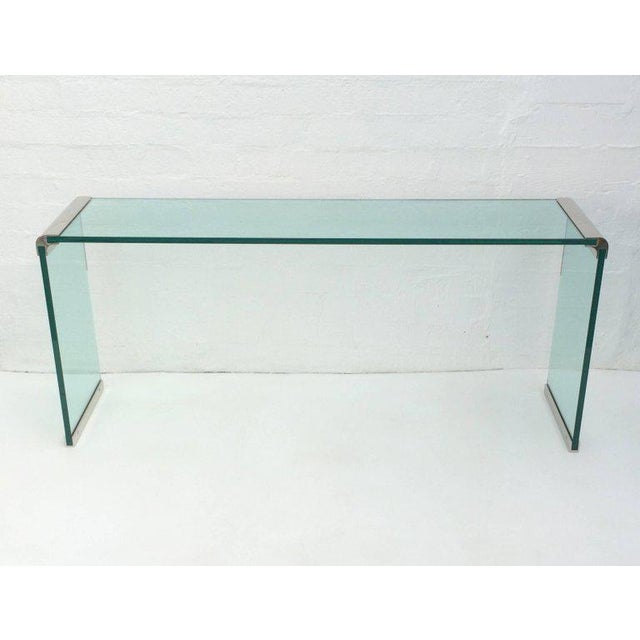 Glass Nickel and Glass Console Table by Leon Rosen for Pace Collection For Sale - Image 7 of 7