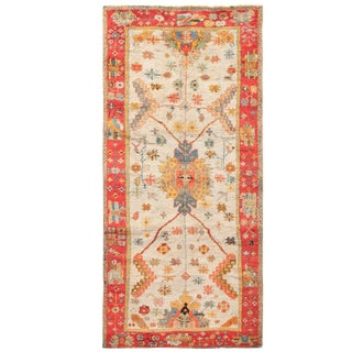 Antique Turkish Arts and Crafts Light Blue Oushak Rug - 5′5″ × 11′ For Sale