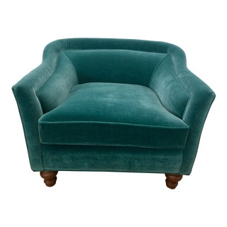 Modern Anthropologie Teal Velvet Holloway Chair For Sale