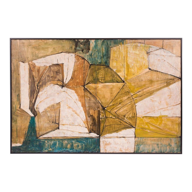 Large Midcentury Abstract Painting by Shiro Ikegawa For Sale