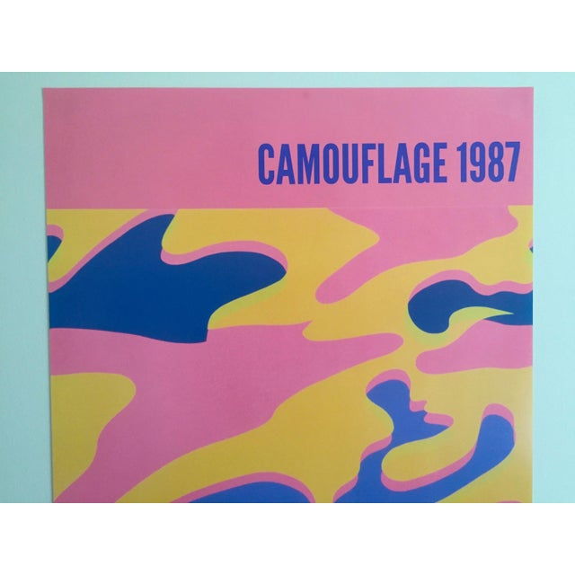"""Abstract Andy Warhol Original Lithograph Pop Art Poster """"Pink Camouflage"""" 1987 For Sale - Image 3 of 10"""