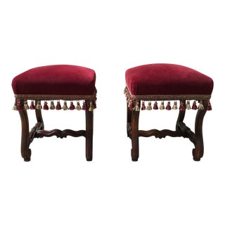 19th Century French Walnut Stools - a Pair For Sale
