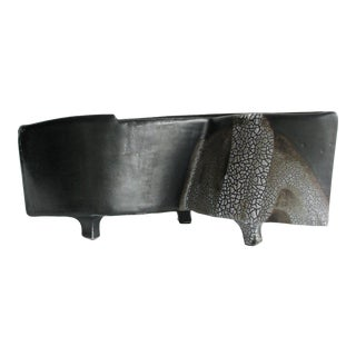 Vintage Mid Century Matte Black Ikebana Style Footed Pottery Planter For Sale