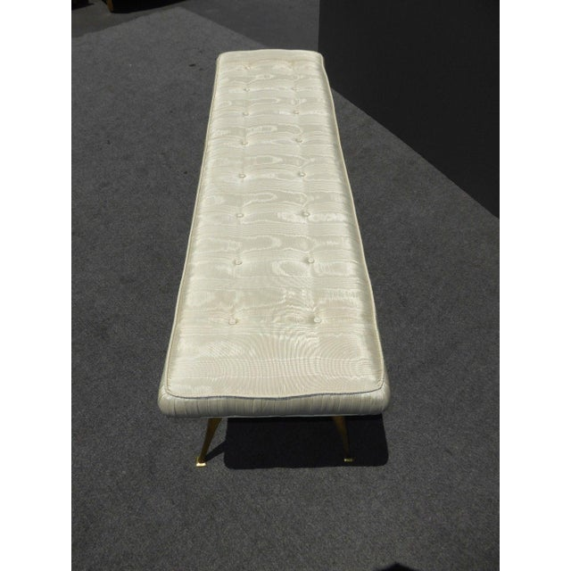 Jonathan Adler Style Mid-Century Modern Bench With Brass Legs - Image 11 of 11