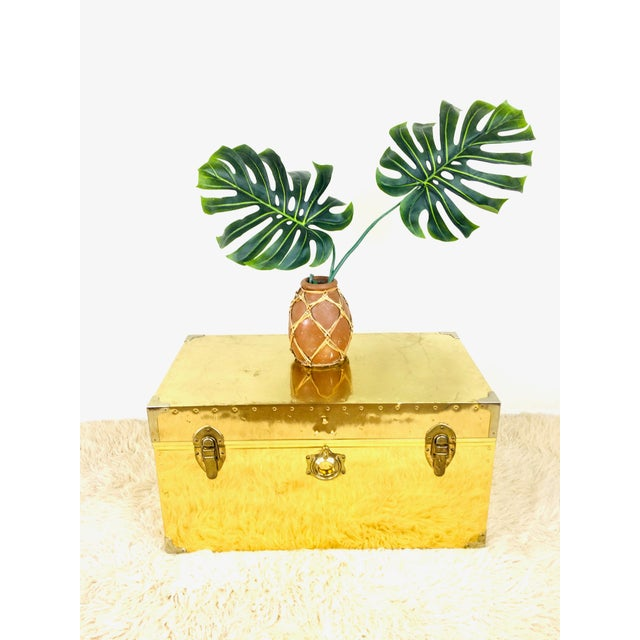 Vintage Brass Coffee Table Trunk / Chest - campaign style w/silver metal accents at corners - handles at each side -...