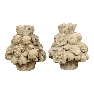 19th Century French Cast Stone Fruitage Finials - a Pair For Sale