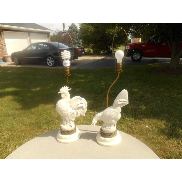 Mid Century Porcelain Rooster Table Lamps - Pair - Image 2 of 6