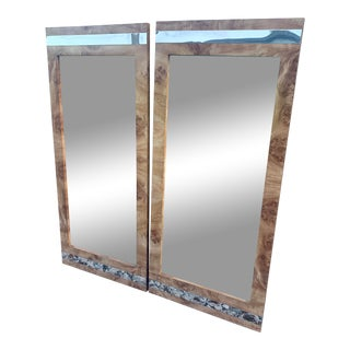 Burl and Chrome Wall Mirrors - a Pair For Sale