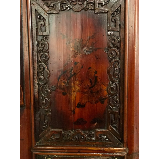 Brick Red Antique Asian Wedding Cabinet For Sale - Image 8 of 12