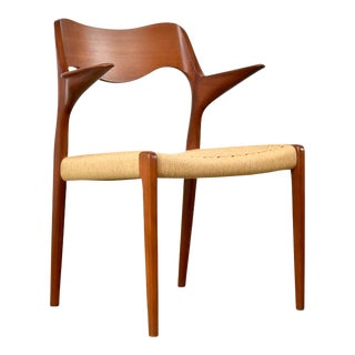 Niels Moller for j.l. Moller Model 55 Teak Arm Chair For Sale
