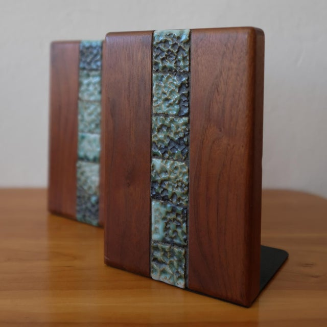 Mid-Century Modern Martz Bookends for Marshall Studios Walnut and Ceramic For Sale - Image 3 of 10
