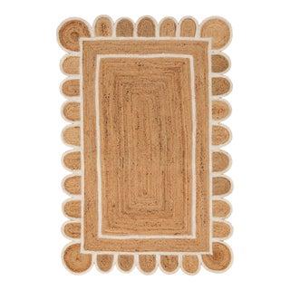 8'x10' White Trim Jute Scallop Braided Handmade Rug For Sale