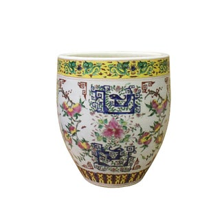 Chinese Off White Porcelain Color Flower Graphic Pot Planter For Sale