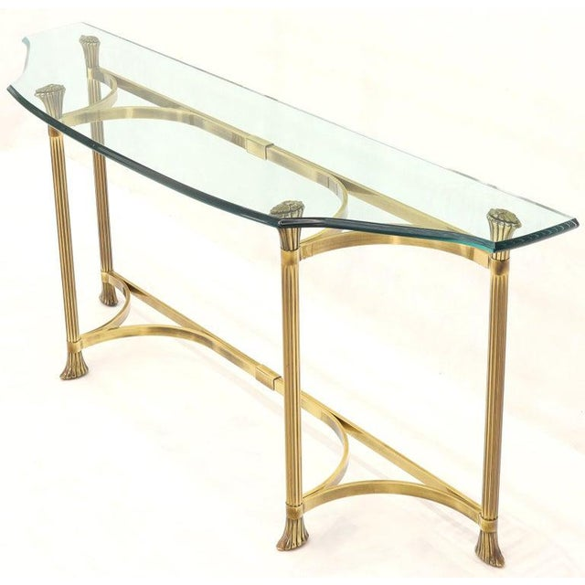 Bent Brass Base Curved Glass Top Figural Console Sofa Table For Sale - Image 9 of 13