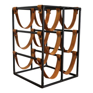 1955 Arthur Umanoff Iron and Leather Straps Wine Rack For Sale
