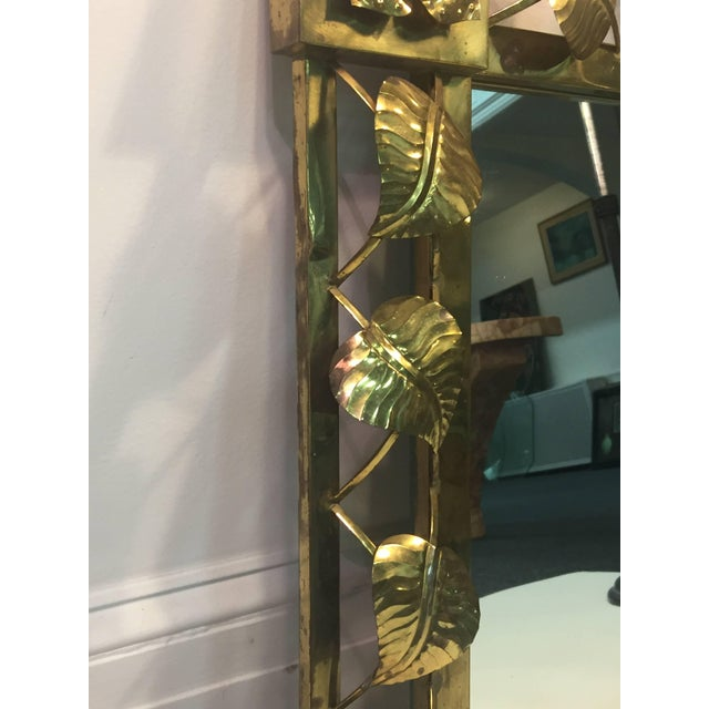 Modern Brass Stylized Flower and Leaves Mirror For Sale In Philadelphia - Image 6 of 11