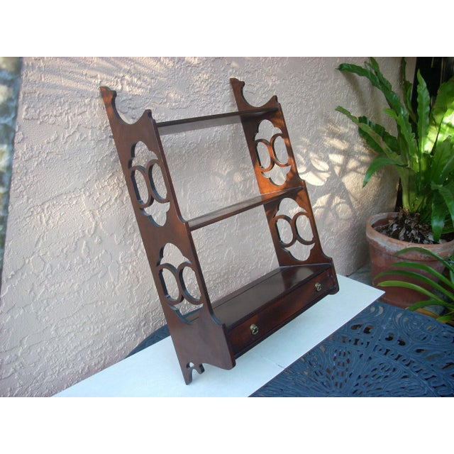 vintage traditional mahogany three shelf wall hanging shelf; detailed cut outs and plate slots; a perfect way to display...