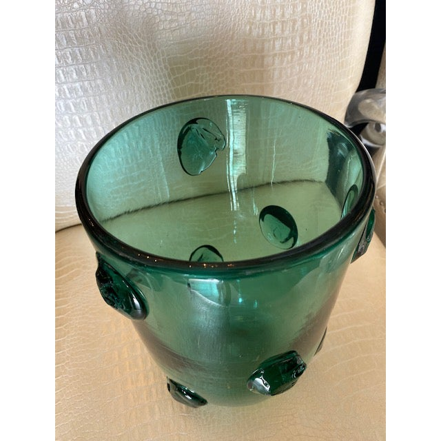 Mid-Century Murano Green Glass Vase For Sale In Los Angeles - Image 6 of 13