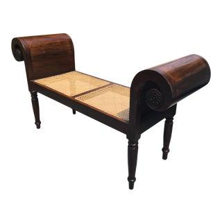 1950s English Regency Style Mahogany Window Bench For Sale