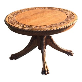 19th Century English Traditional Quarter Sawn Oak Carved Coffee Table
