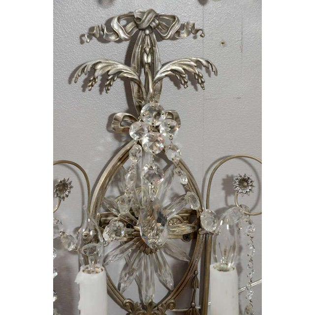 Mid 19th Century Pair of 19th Century Silver Leaf and Crystal Sconces For Sale - Image 5 of 8