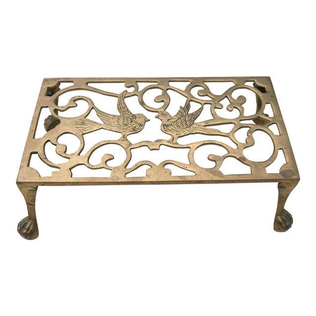 Mid-Century Solid Brass Bird Motif Plant Stand - Image 1 of 11