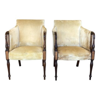 Vintage Mid Century Wood and Velvet Antique Chairs- A Pair For Sale