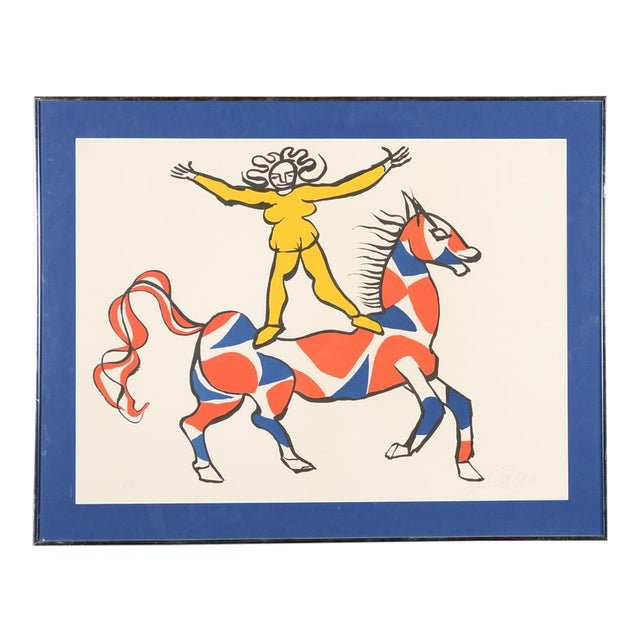 """Circus Bareback Rider"" Framed Alexander Calder Lithograph For Sale"