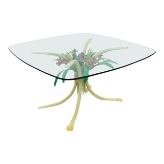 Vintage Hollywood Regency Style Floral Tole Coffee Table For Sale