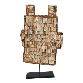 Chinese Woven Fiber Vest Decorated With Bone Beads on Stand