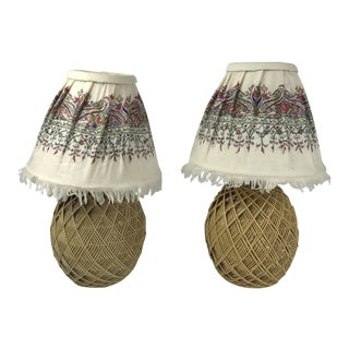 1970's Mid-Century Modern Wicker Table Lamps - a Pair For Sale