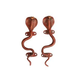 Red Brass Cobra Door Handles - A Pair