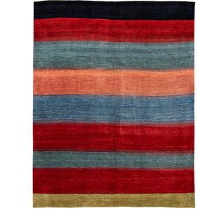 Modern Gabbeh Striped Persian Handmade Wool Rug For Sale