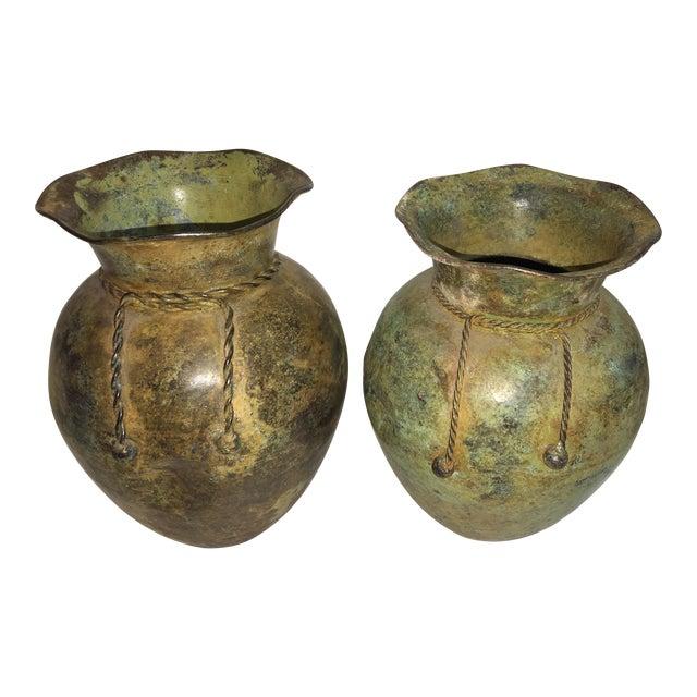 Antiqued Copper Finish Vases - A Pair - Image 1 of 7