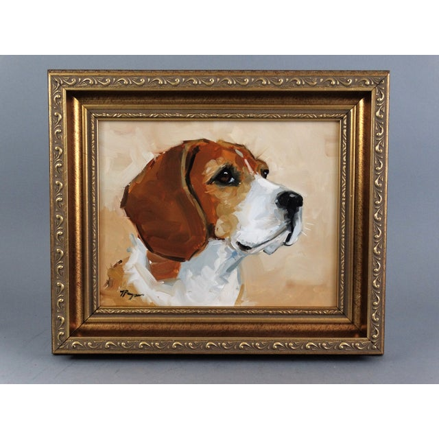 Beagle Dog Oil on Canvas Portrait Painting - Image 2 of 7
