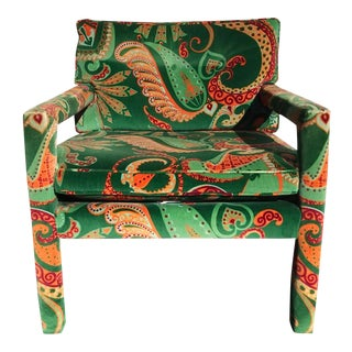 1980s Vintage Velvet Paisley Parsons Chair For Sale