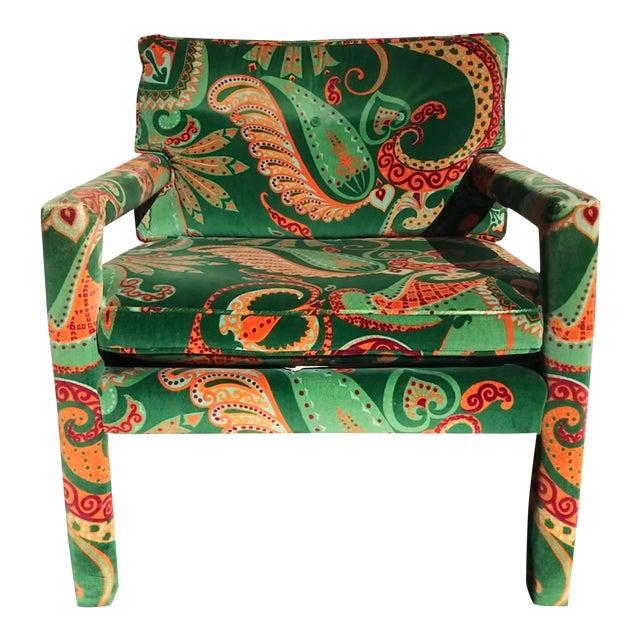 1980s Vintage Velvet Paisley Parsons Chair For Sale