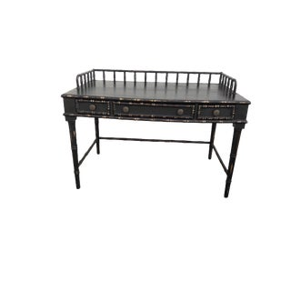 Vintage Faux Bamboo Black Distressed Desk For Sale