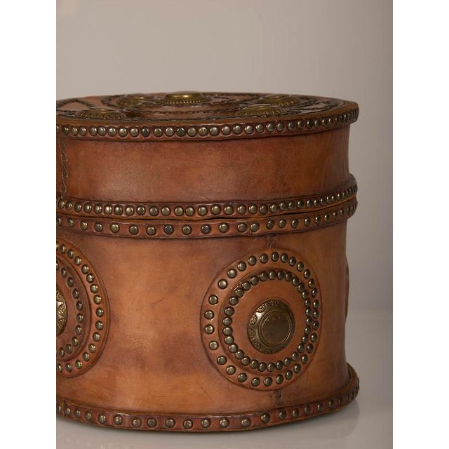 1900 - 1909 Large Antique Italian Leather Box with Decorative Brass Studs circa 1900 For Sale - Image 5 of 7